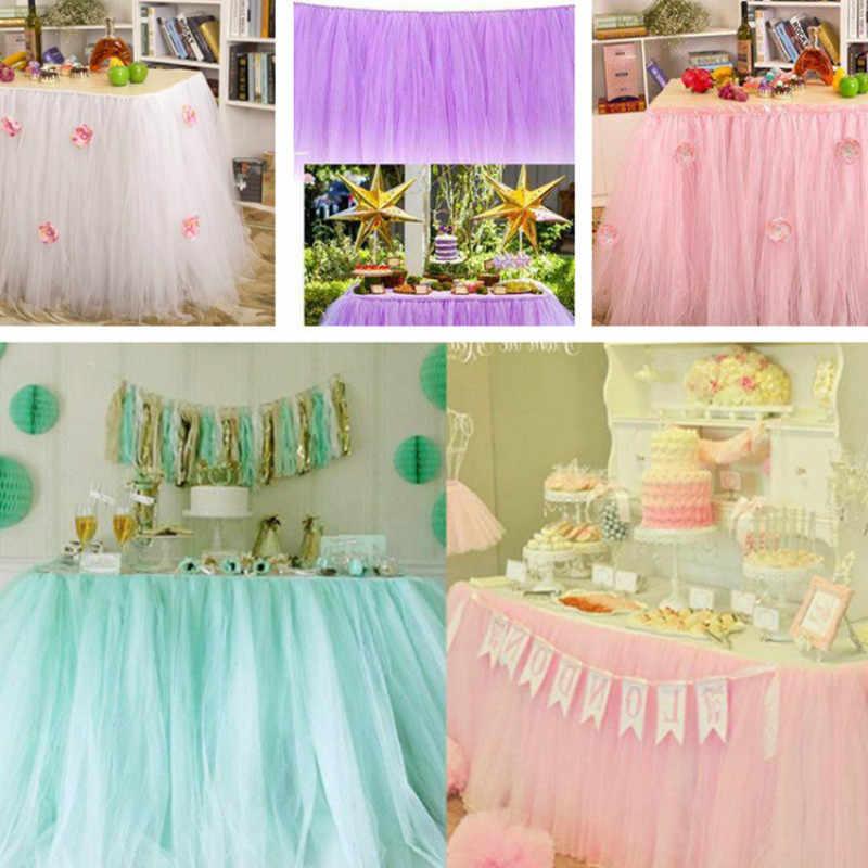 bc9afab00 22 colores tutú de tul falda de mesa de tul vajilla para decoración ...