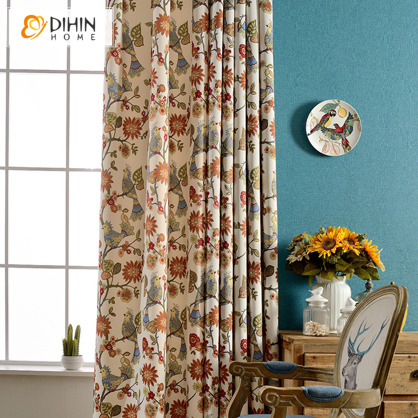 High Window Curtains: DIHIN New Arrival Foral Printed Black Curtains For Living