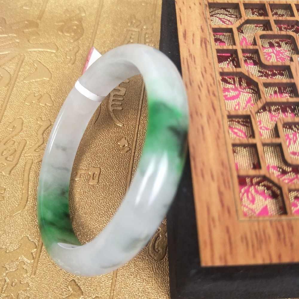 ส่งใบรับรองธรรมชาติ Jadeite สร้อยข้อมือธรรมชาติด้านล่างแสงสีเขียว 2 สี 54-61 มม. หญิงเจ้าหญิงสร้อยข้อมือเครื่องประดับ gi