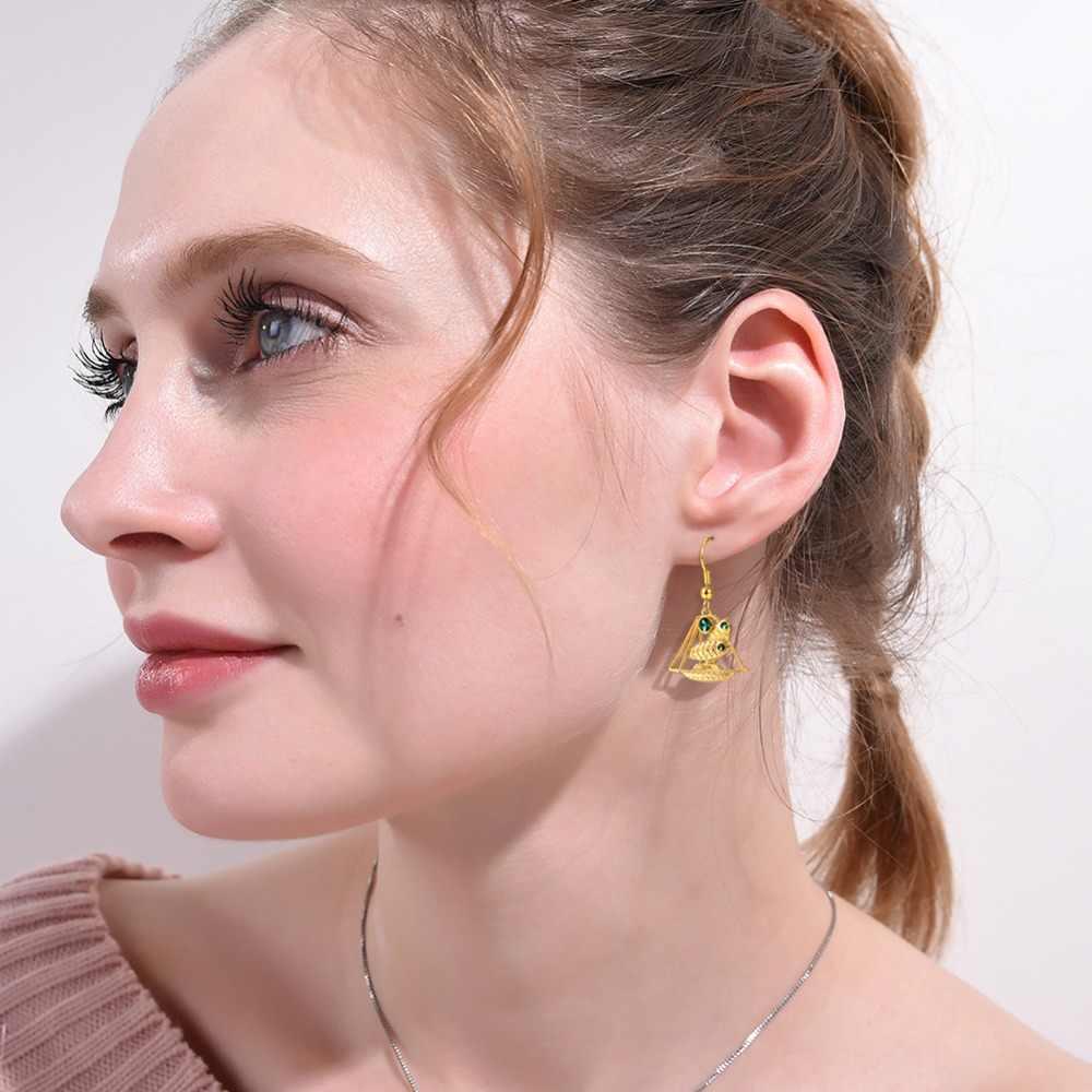 U7 złoty kolor etniczne żaglówka dynda kolczyki z zielonym AAA cyrkonia Papua-Nowa Gwinea moda biżuteria dla kobiet E1007
