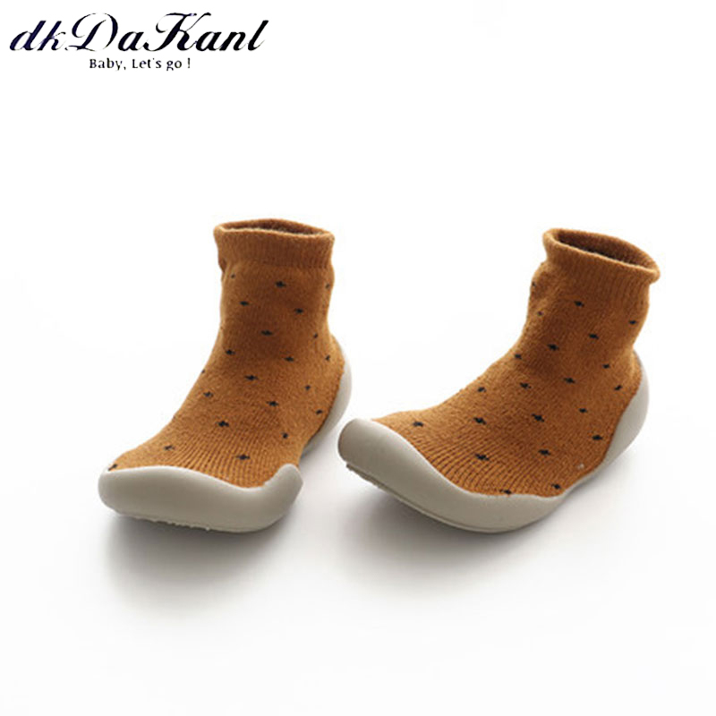 dkDaKanl Baby Solid Soft Rubber Sole Warm Cotton Toddler Shoes Girls Boys Winter Floor Sock Shoes For 10-24 Months SO500