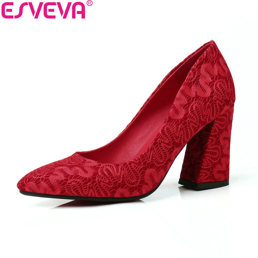 ESVEVA 2018 Women Pumps Flock Wedding Shallow Two Kinds Heel Height Square High Heels Shoes Pointed Toe Women Shoes Size 34-43 esveva 2017 women pumps mary janes spring autumn shoes square high heel pumps flock party wedding women shoes big size 34 43