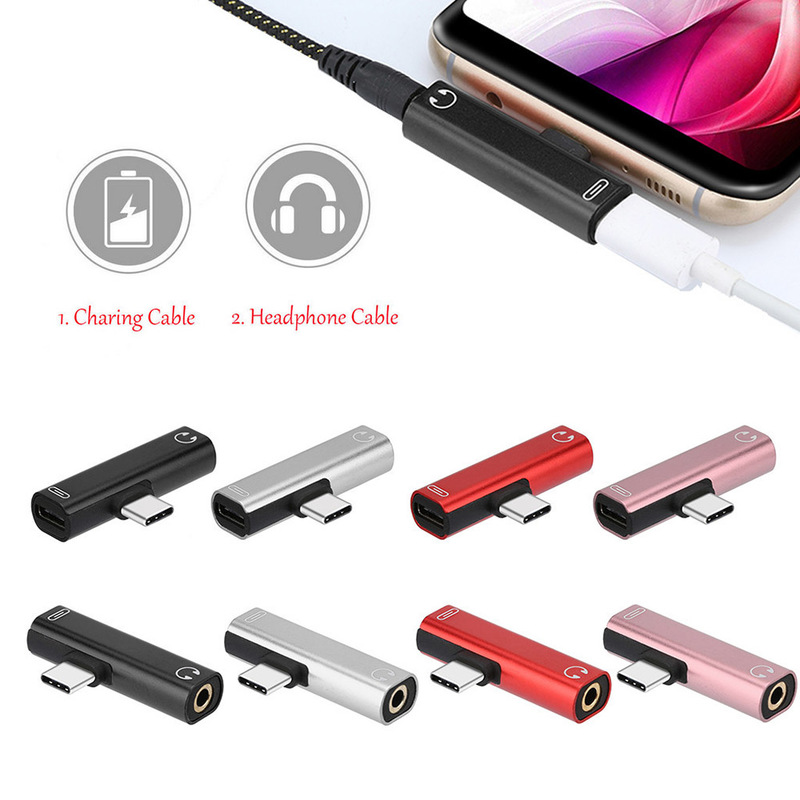 2 In 1 USB Type C 3.5mm Jack Audio Headphone Adapter For Xiaomi Mi 9 Samsung Galaxy S10 S10+ USBC Adaptateur Charging Dropship