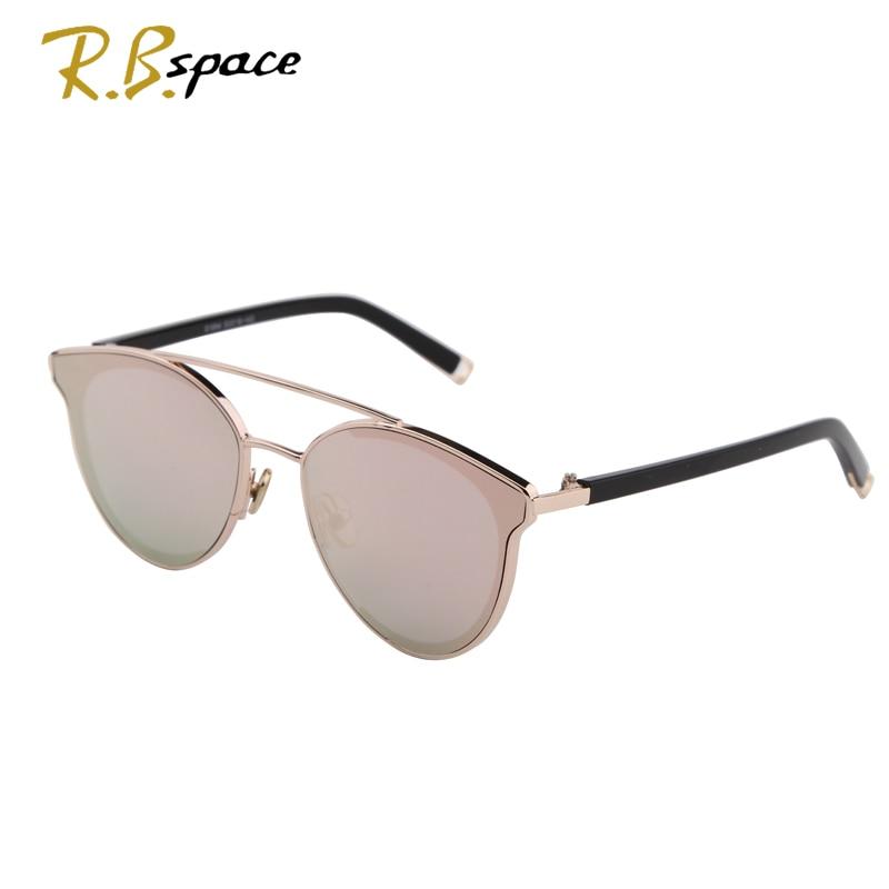 2017 Fashion cats eye sunglasses ladies brand designer double beam mirror lens sunglasses retro mirror metal ladies sunglasses
