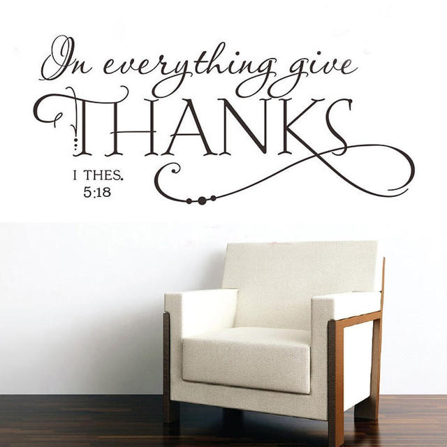 2017 New English Words Quotes In Everything Give Thanks Wall Sticker Decal Diy Art Christian