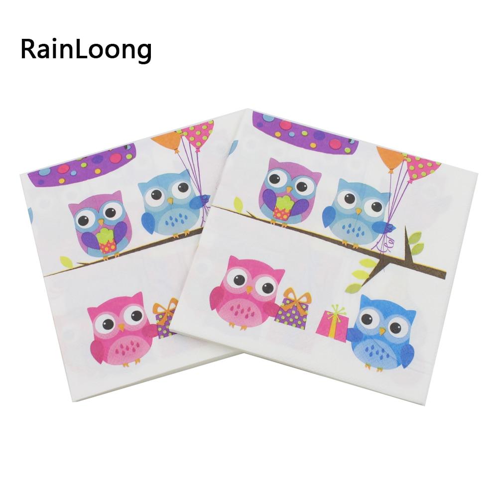 [RainLoong] Owl Dinner Servilletas y servilletas de papel con - Para fiestas y celebraciones