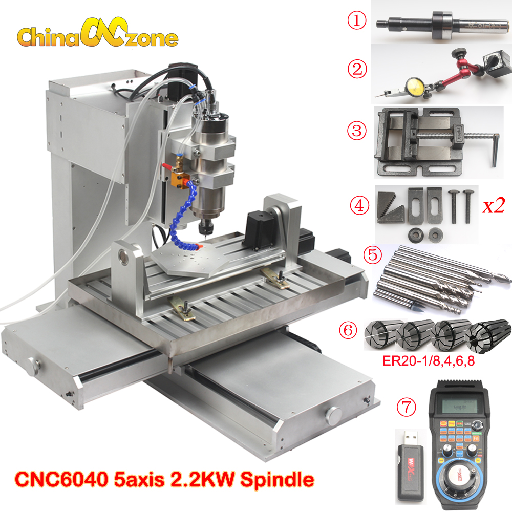 6040 5 axis CNC Router Engraving Machine with Ball Screw CNC Pillar Type CNC Wood Aluminum