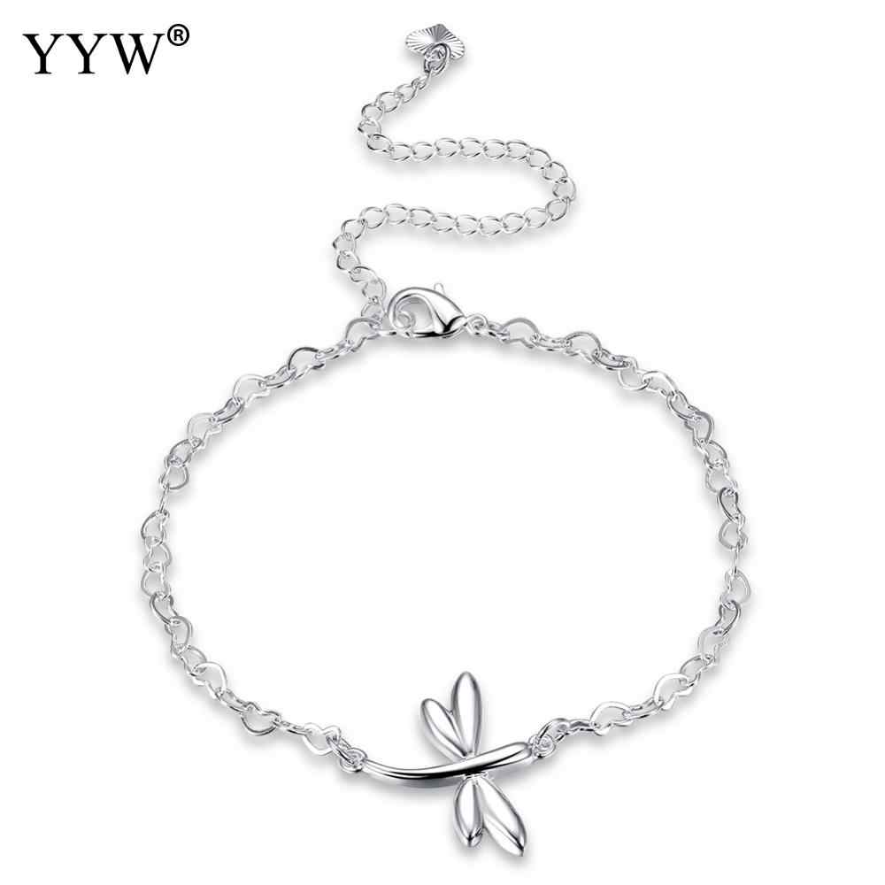 Free Shipping Fashion Women's Stainless Steel Chain Foot Jewelry Ankle Bracelet With Dragonfly Foot Jewelry Gift To Ladies