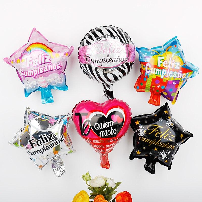10inch Spanish Happy Birthday Love Foil Balloons 100pcs