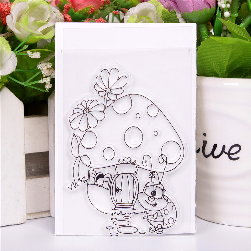 Rubber Silicone Clear Stamps for Scrapbooking Tampons Transparents Seal Background Stamp Card Making Diy Mushroom house