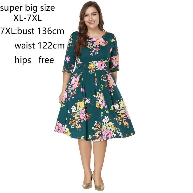 US $26.03 43% OFF XL 7XL Women Plus Size Dress Back Zipper High Waist Tunic  Printed Big Swing Dress Plus Size Dresses For Women 4XL 5XL 6XL-in Dresses  ...