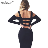 2016 Black White Sexy Solid Long Sleeve Hollow Out Off The Shoulder Backless Mini Bodycon Women
