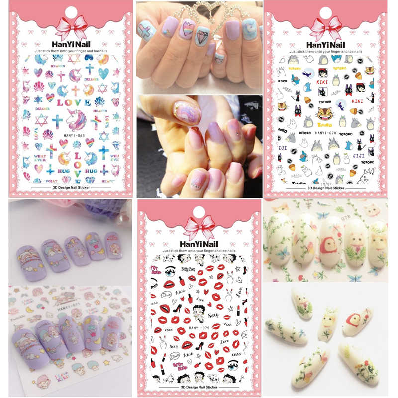 Nails Art Manicure Japan Cartoon Sticker One Piece Decorations Pokemon Totoro Design Pirate Brand Cat Deer Nail Stickers Decals