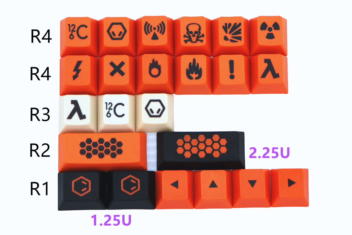 23 Keys PBT Thickened Key Cap Carbon Dye Sublimation Cherry Height  Mechanical Keyboard Keycaps For Corsair Cherry Razer Filco