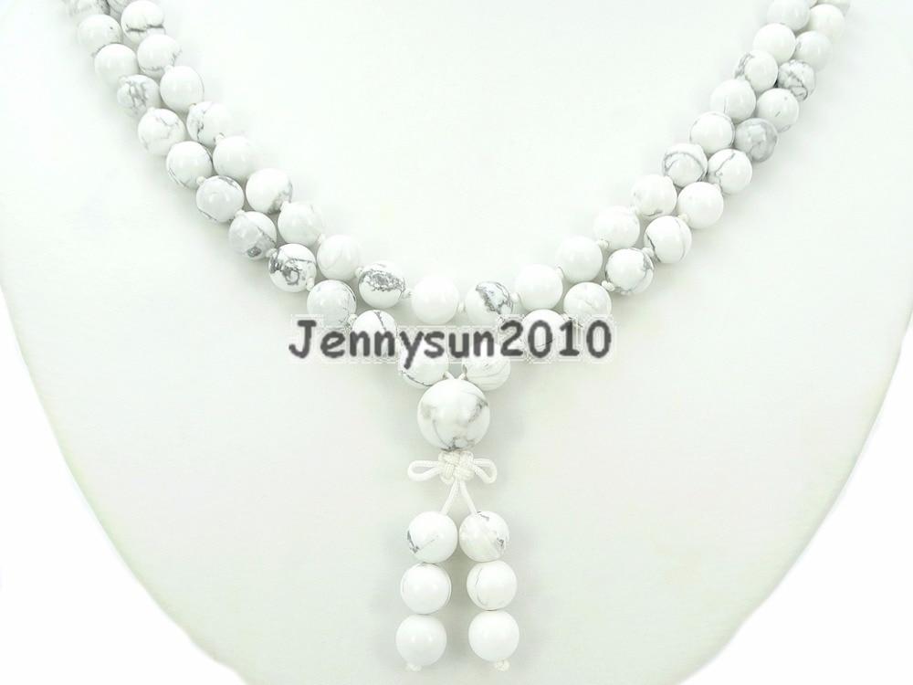 Natural White Tur quoise 8mm Gems Stone Buddhist 108 Beads Prayer Mala Knot Necklace Multi Purpose