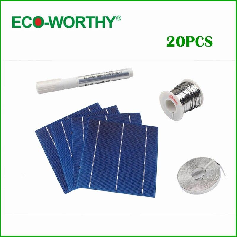 20pcs 4.3W 156*156mm Poly Polycrystalline Solar Cell 6x6 for DIY 80W Solar Panel