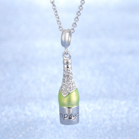 Classical Wine Bottle Design Fashion Jewelry 925 Sterling Silver Pendant Necklace