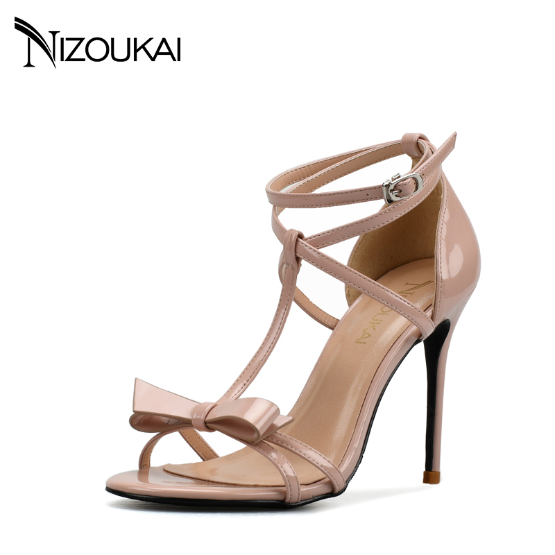 2017 women sandals summer shoes high heel sandals women Red Black T ankle strap dress party OL sexy sandals lyx6 q-in High Heels from Shoes    1