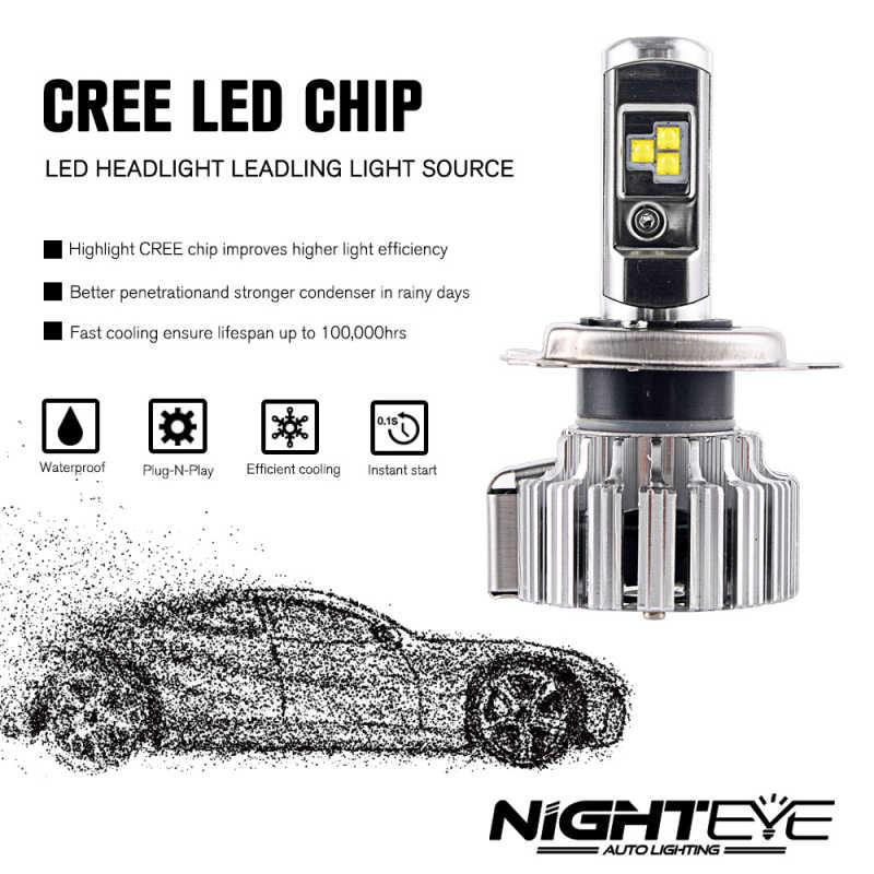 NIGHTEYE סופר מואר H4 H7 מנורת LED H11 HB3/9005 HB4/9006 H1 H3 h11 led 12 V הנורה אוטומטית פנס 6000 K lampada רכב נורות h7