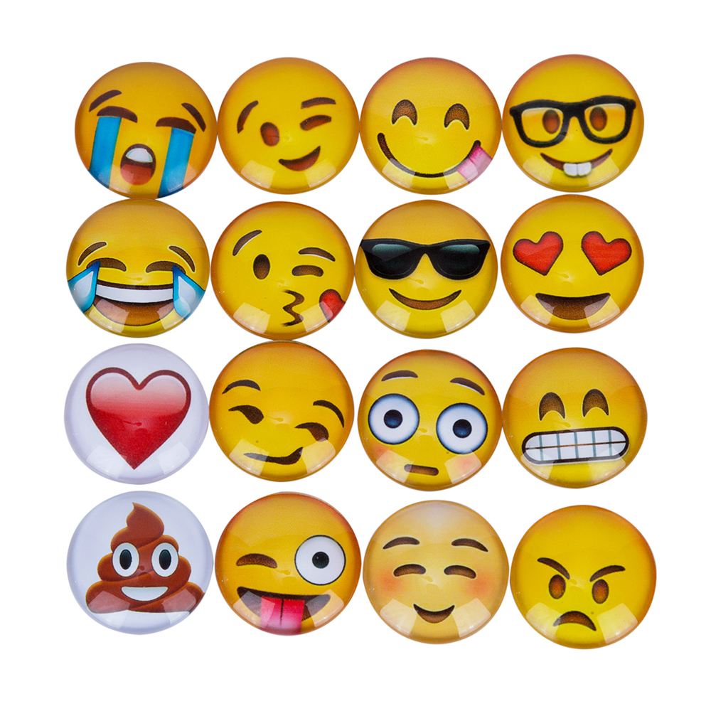 16Pcs/set Cute Emoji Patterns Fridge Magnets Sticker Cartoon Emoji Notes Message Home Decor Magnetic Sticker Super Magnet greeting word style fridge magnets 4 pack