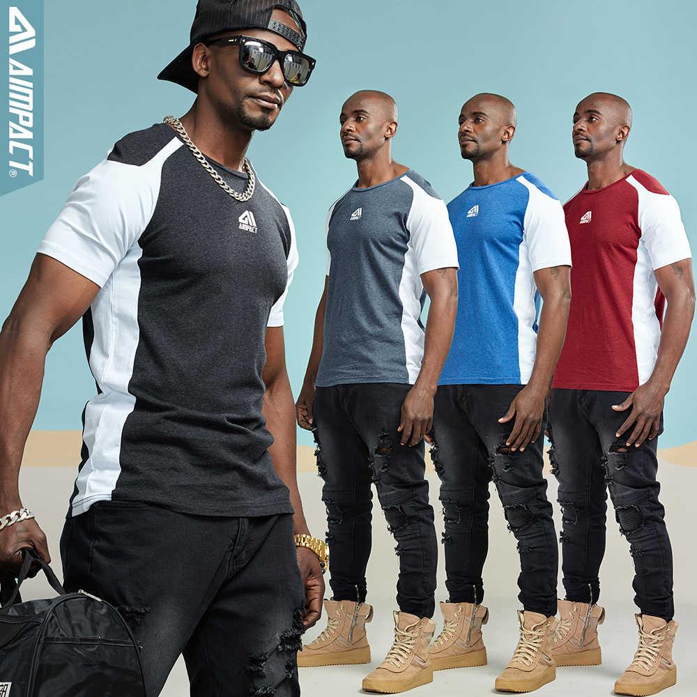 Aimpact 綿メンズ tシャツ 2018 新 Us サイズファッションブランド服男性 Tシャツワークアウトフィットネスシャツ男 Tシャツ AM1027