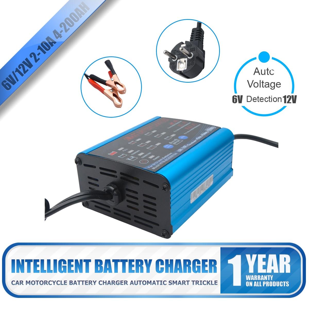 Chargeur de batterie automatique intelligent 12 V chargeur de batterie externe Portable 6 V avec indicateur d'affichage de LED