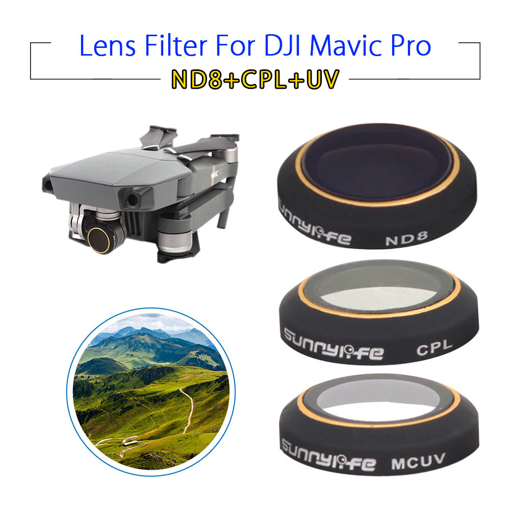 Sunnylife UV ND8 CPL HD Camera Lens Filters Protective 3pcs Accessories For DJI Mavic Pro Folding