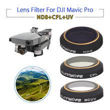 SunnyLife УФ ND8 CPL HD Камера объектив Фильтры защитный 3 шт. Аксессуары для dji Мавик Pro складной Дрон