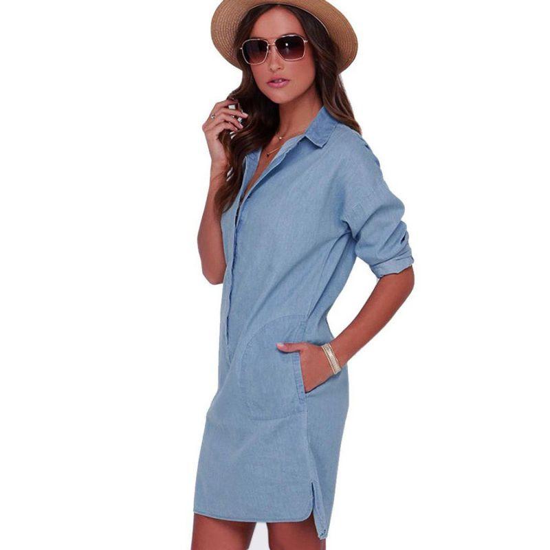 dc44c498da5 Aliexpress.com   Buy Women s Casual Long Sleeve Denim Jean Shirt Dress Short  Mini Dresses Blouse Tops from Reliable dress blouse suppliers on Luckyaution