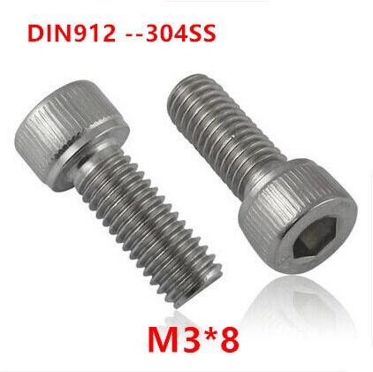 500 sztuk DIN912 M3 * 8 śruba ze stali nierdzewnej 304 A2-70 z łbem sześciokątnym śruby mocujące M3x8mm sześciokątny imbusowy maszyn cylindrowych śruby