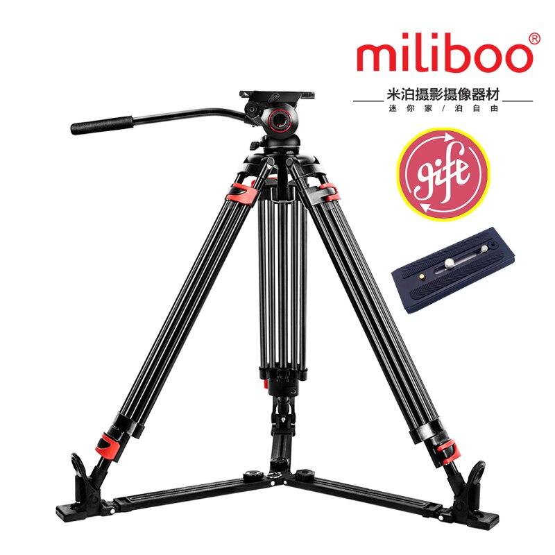 Miliboo MTT609A Portable Trépied En Aluminium pour Caméscope Professionnel/Caméra Vidéo DSLR Trépied avec Hydraulique À Tête Sphérique