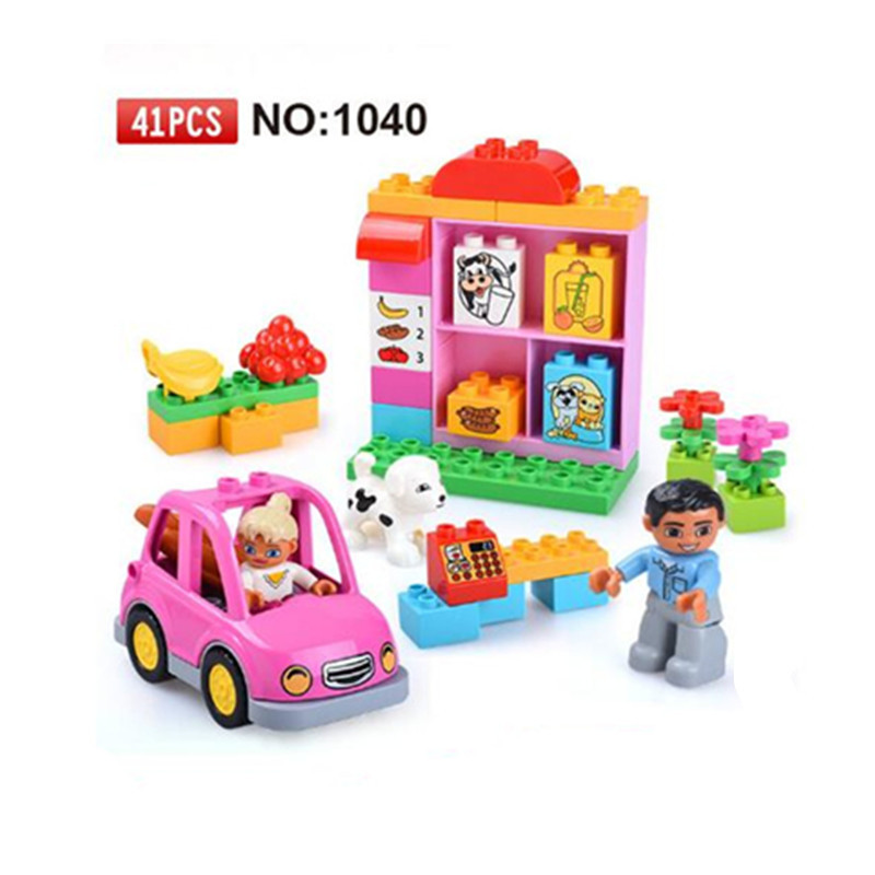41pcs Big Size Girls Diy Building Blocks Fruits And Vegetables Model Compatible With Legoingly Brick Duplo Toys For Children kid s home toys large particles circus show animal paradise building blocks large size 39pcs diy brick toy compatible with duplo