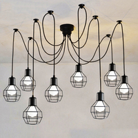 6 arms Vintage industrial Nordic Chandelier Edison Bulb Loft Retro Ceiling pendant lamp Spider indoor Art Lights dining lamps