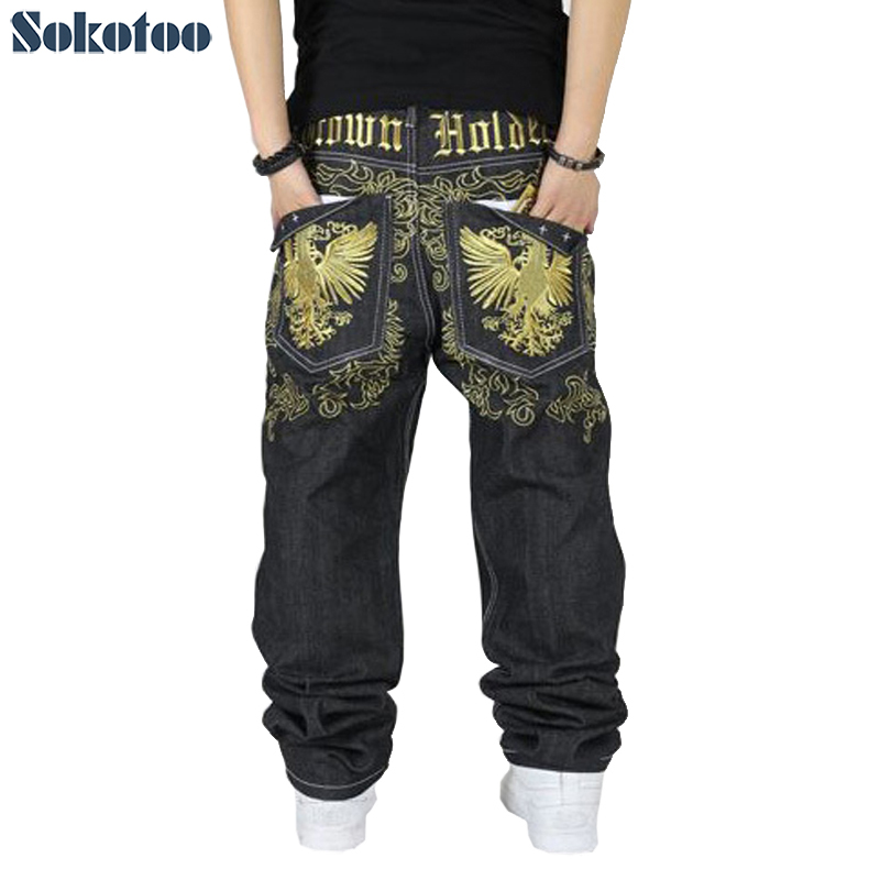 Sokotoo Hiphop Jeans Streetwear Men's Embroidery Straight Loose Casual Pants Male Plus Size Fashion Hip-hop Jeans