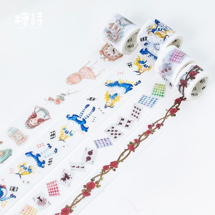 Alice World Washi Tape Adhesive Tape DIY Scrapbooking Sticker Label Masking Tape Japanese Stationery