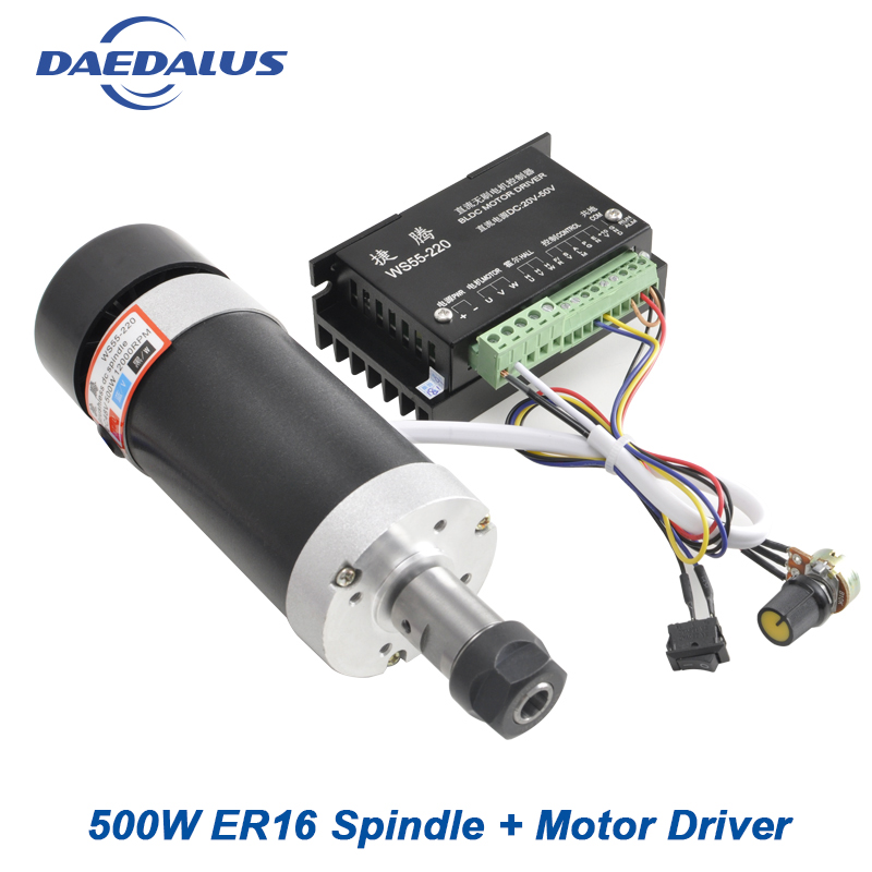 Spindle 500W CNC Brushless Spindle Motor Air Cooled ER16 Drill Chuck+Stepper Motor Driver CNC Controller For Engraver Machine цена