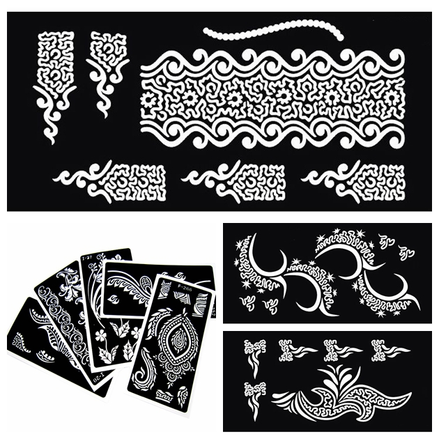 30 pieces indian henna tattoo stencils for painting mehndi for Henna temporary tattoo stencils