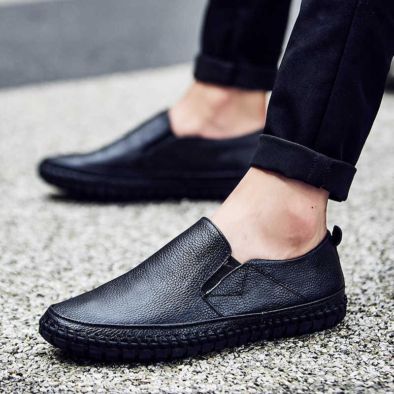 JKPUDUNขนาดใหญ่38-47ใบบนลำลองสำหรับบุรุษโลฟเฟอร์แบรนด์หรูบุรุษรองเท้าหนังนิ่มรองเท้าออกแบบอิตาลีหนังแท้รองเท้าผู้ชาย