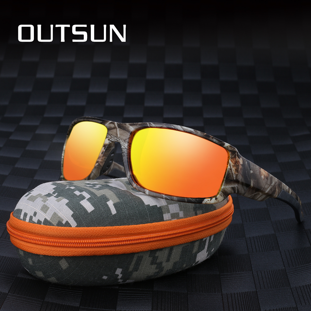 OUTSUN 2018 Polarisierte Sonnenbrille Männer Frauen Sport fishing Fahren sonnenbrille Marke Designer Camouflage Rahmen De Sol