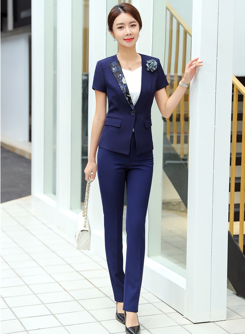 D'affaires Marine De Des Travail Femme Bureau Uniformes Costume Blazer Bleu Styles marine Noir Pour D'été Pantalon Dames Formelle Portent Vêtements 1Efqzz