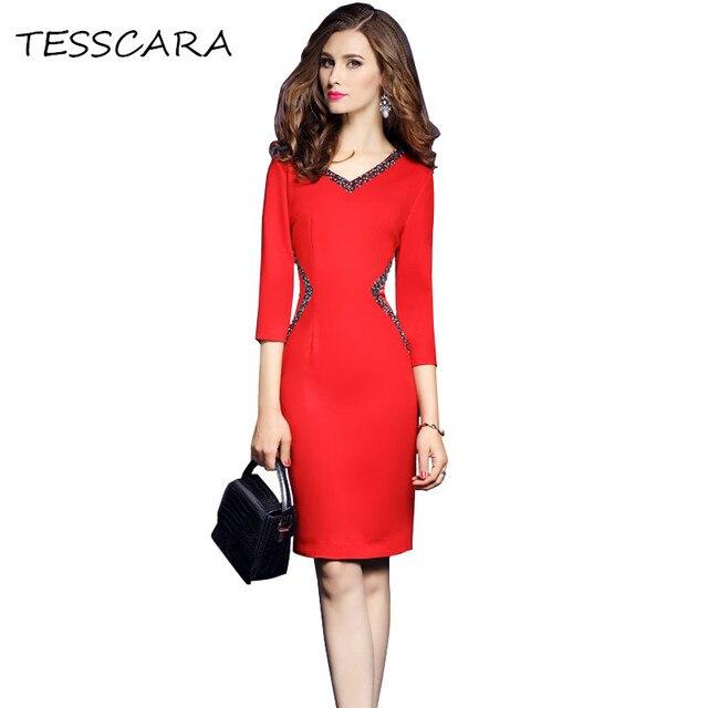 b3ce5041c TESSCARA mujeres de otoño elegante Oficina abalorios moda femenina vestido  Retro de Femme Vintage trabajo desgaste