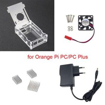 Прозрачный акриловый чехол для Orange Pi PC + адаптер питания 5 в 2 А + 3 алюминиевых радиатора + вентилятор, совместимый с Orange Pi PC Plus