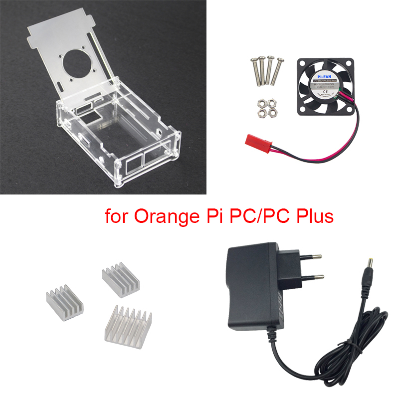 Transparent Acrylic Case For Orange Pi PC + 5V 2A Power Supply Adapter + 3 Aluminum Heat Sink + Fan Compatible Orange Pi PC Plus