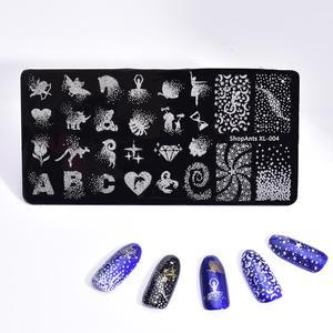 Image 4 - Paslanmaz çelik tırnak tırnak yapıştırması s şablon ABC nokta gül kalp fantezi başlar tırnak sanat tırnak yapıştırması elmas baskı şablonları