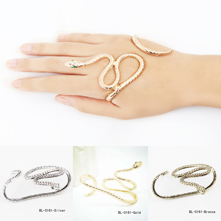 Unisex Punk Retro Snake Shape Hand Palm Bracelet Bangle Cuff Ring Jewelry Gift Drop Shipping