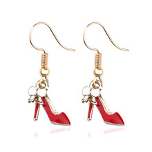 4colors High Heels Drop Earrings For Women Enamel Gold Bowknot Shoes Dangle Earrings Metal Tassel Earring Fashion Jewelry Brinco(China)