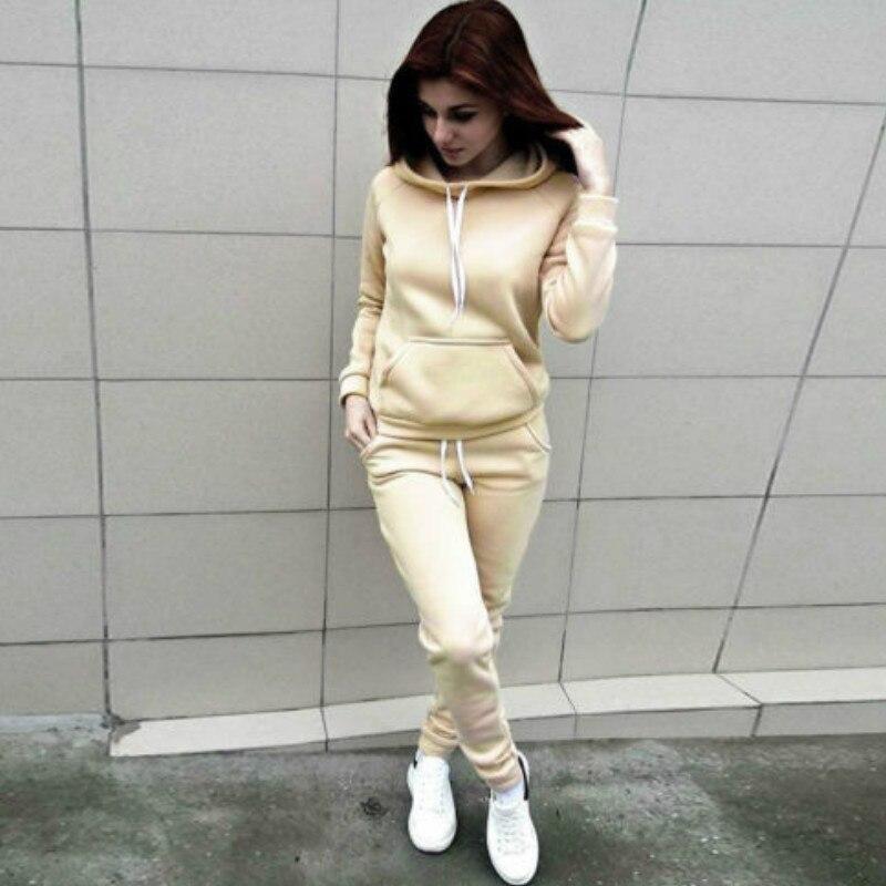 Hirigin Hooded Casual Tracksuit Suits For Women Set Hoodies Sweatshirt+Sweatpants 2 Pieces Sets Women's Suit Sweatsuit Female