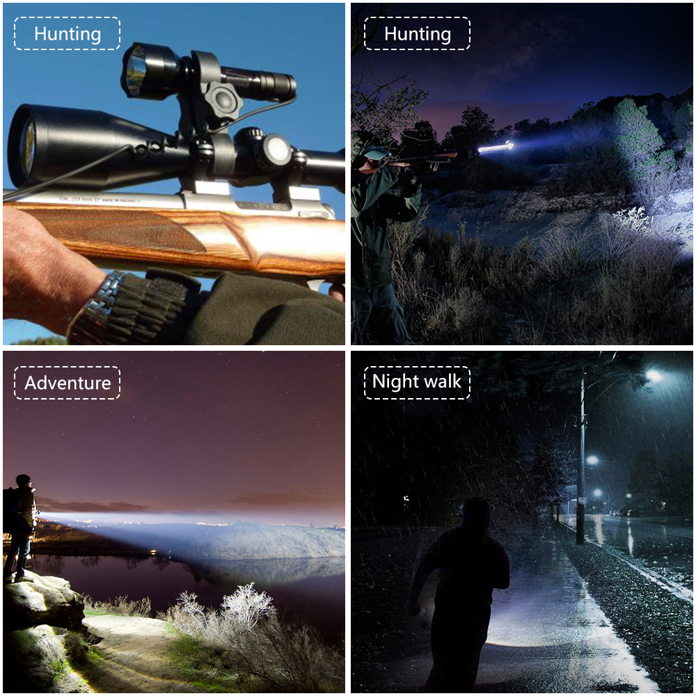Купить с кэшбэком Night Hunting Flashlight for Gun Linterna LED Torch Light L2 Tactical Flash Light Lamp Use 18650 Charger Gun Mount