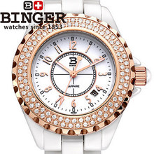 Binger Vintage rhinestone rose gold watches fashion women white dress wristwatch personalized digital date trendy elegant watch