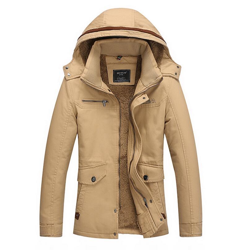 Winter Plus velvet Hooded jacket men New 2017 Windbreaker Warm Thick Military Leisure Men's cotton Jackets plus Size M-4XL w508